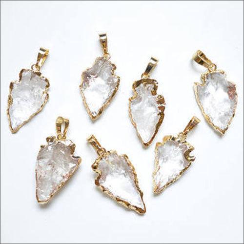 Clear Quartz Crystal Arrowhead Pendant