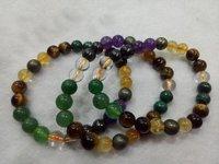 Money Magnet Bracelet 8 mm with Stones Pyrite-Citrine-Green Aventurine-Tiger Eye-Crystal-Amethyst-Malachite-Magnetite