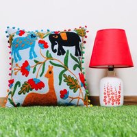 Animal Print  Embroidered Cotton Cushion Cover