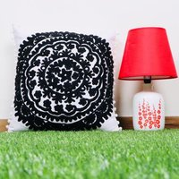 Black Floral  Embroidered Cushion  Cover