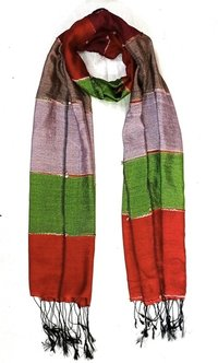Silk Cotton With Fringes Printed Scarves