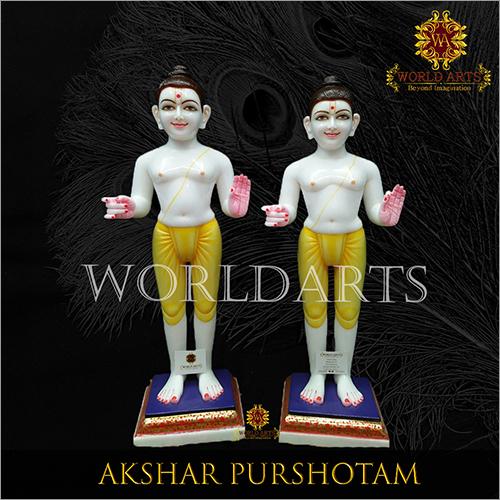 White Marble Akshar Purshotam Statue