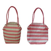 12 Oz Natural Cotton Tote Bag With Striped Print