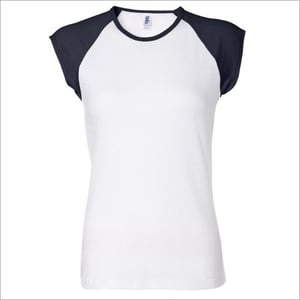White Color Rib In Neck T Shirt