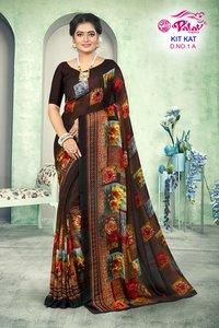 Kit kat Gergette printed saree by palav fabrics