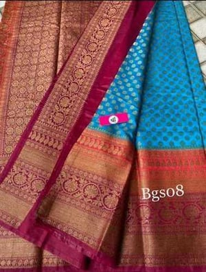 Banarsi semi georgette 3d dyeble saree with attractive pallu n blouse pieces with zari sleeves border.