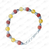 Prayosha Crystals Yellow Onyx + Rudraksha Bracelet