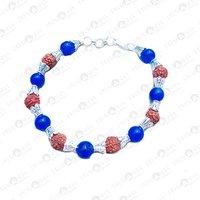 Prayosha Crystals Blue Onyx + Rudraksha Bracelet