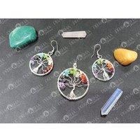Prayosha Crystals Tree of Life Pendant & Earring