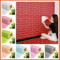 3D Red Brick Wall Stickers Panel Self Adhesive