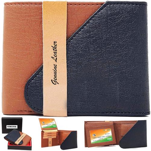 Wallet For Men Black-Tan Snap Lock PU Leather Gents Purse