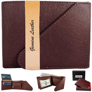 Wallet For Men Brown Snap Lock PU Leather Gents Purse
