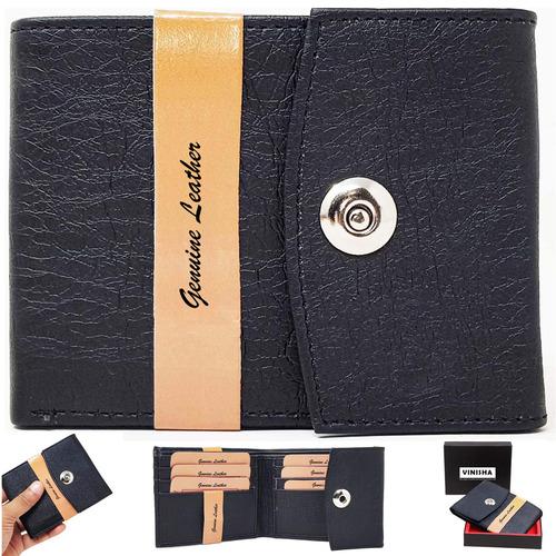 Wallet For Men Black Magnet Lock PU Leather Gents Purse