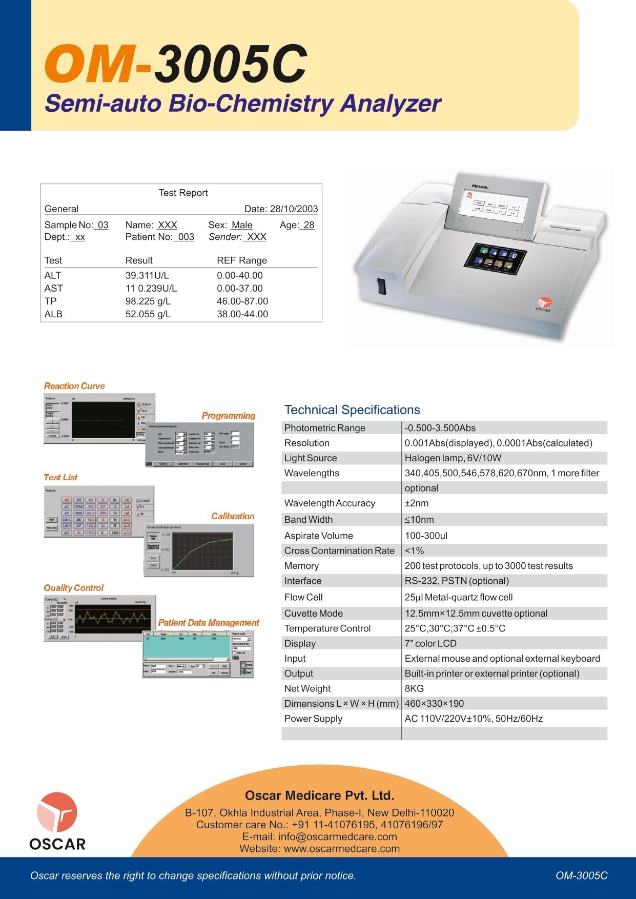 Semiautomatic Biochemistry analyzer