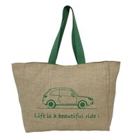 Non Laminated Jute Tote Bag With Inside Poly/Viscose Lining