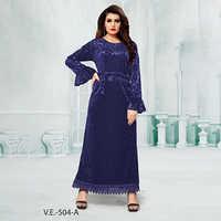 Blue Full Sleeves Velvet Gown With Print