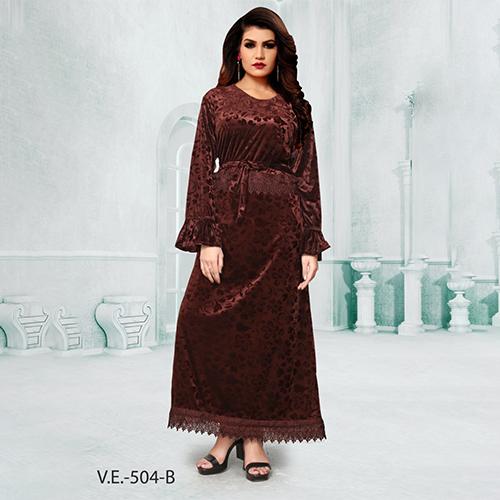 Brown Full Sleeves Velvet Gown With Print