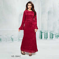 Red Full Sleeves Velvet Gown With Print