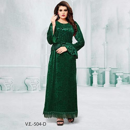 Green Full Sleeves Velvet Gown With Print