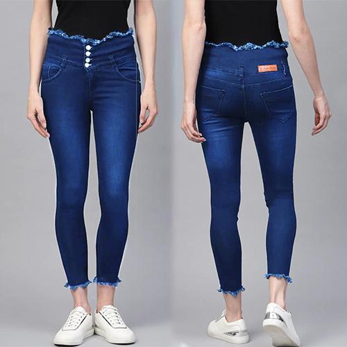 Indigo Blue 4 Button High Waist, 4 Pocket Jeans