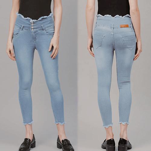 Sky Blue 4 Button High Waist, 4 Pocket Jeans