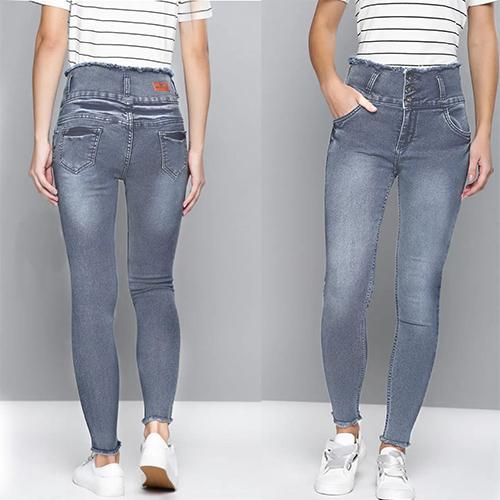 Grey 4 Button High Waist, 4 Pocket Jeans