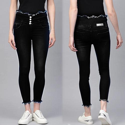 Black 4 Button High Waist, 4 Pocket Jeans