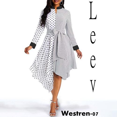 White Black Combo Dress