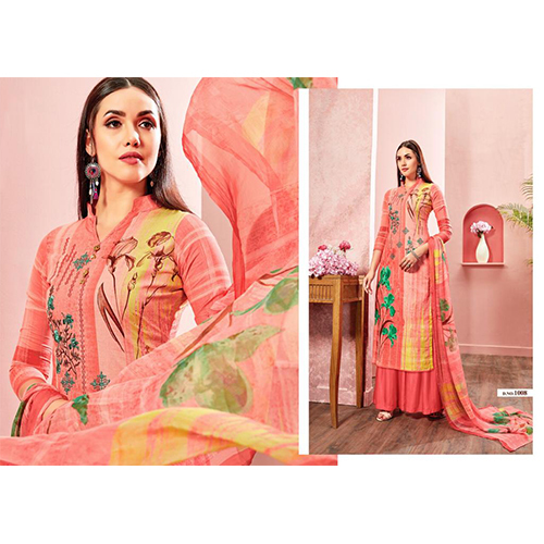 Pure Cotton Printed With Heavy Work Suit