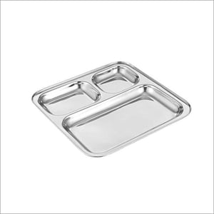 Stainless Steel Square Shape Three Compartment Plate Tray