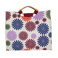 PP Laminated Jute Bag With Wooden Cane Handle