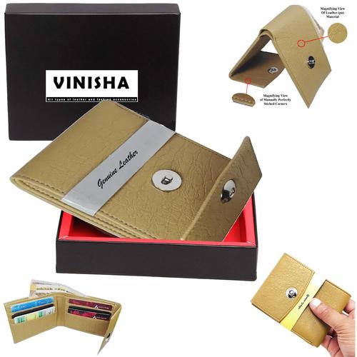 Wallet For Men Beige Magnet Lock PU Leather Gents Purse