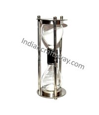Antique brass aluminum sand timer with nickel BLK leather