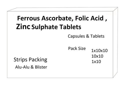 Ferrous Ascorbate, Zinc (as zinc sulphate), Folic Acid.